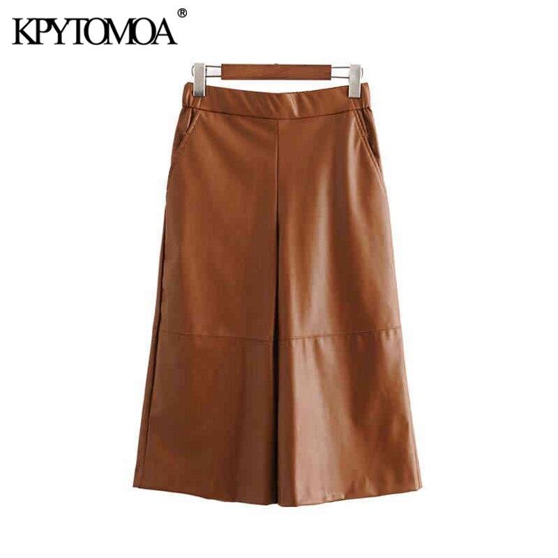 Vintage Chic PU Faux Leather Calf Length Wide Leg Pants Women 2020 Fashion High Elastic Waist Pockets Female Trousers Pantalones