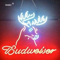 Nuevo https://ae01.alicdn.com/kf/Hb0209ac6750049edbbc2029199a475991/Personalizado para letrero neón de Budweiser tubo de neón de vidrio Real hecho a mano Logo.jpg