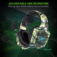 Newmsnr K8 Camouflage Gaming Games Headphones Big headsets with Mic Light HD Stereo Deep Bass for PC Gamer Laptop PS4 New X BOX