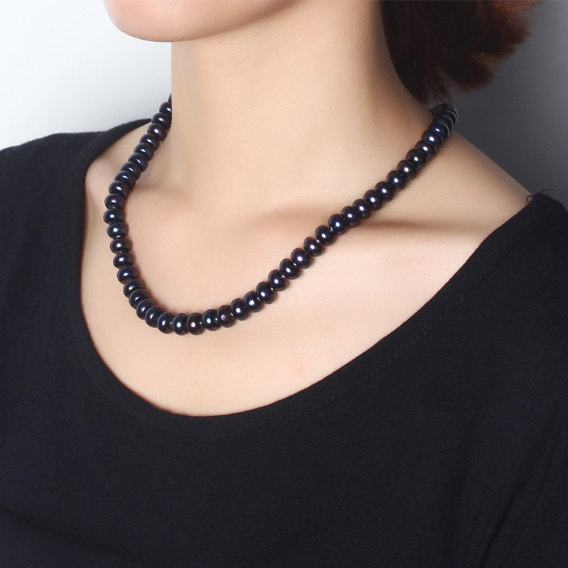 2019 Amazing New Real Black Pearl Jewelry Necklace For Women,Natural Freshwater Pearl Cute Love Shape Buckle,Fashion Jewelry