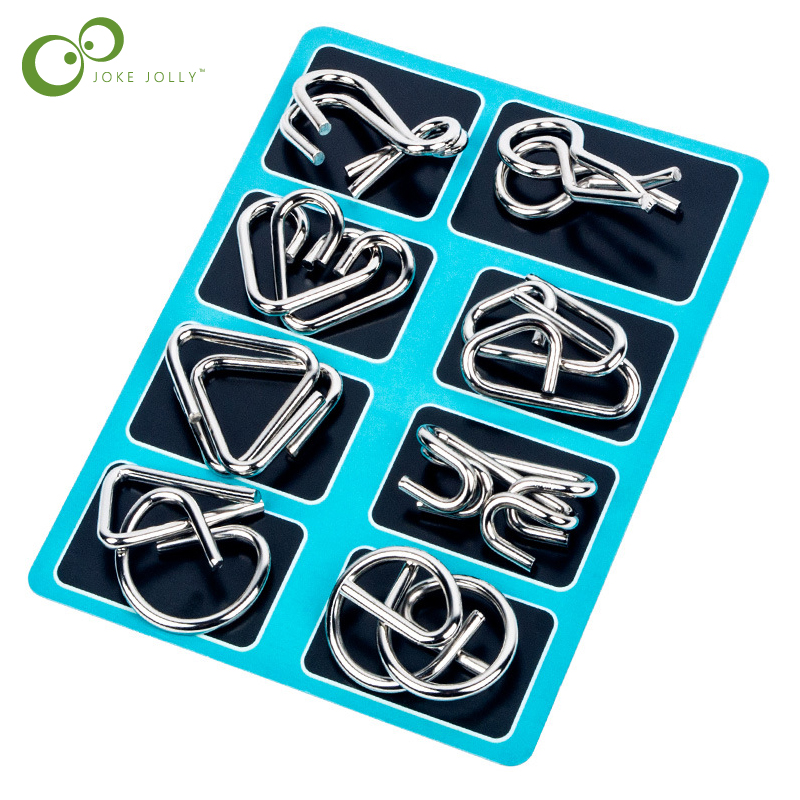 8PCS/Set Materials Metal Montessori Puzzle Wire IQ Mind Brain Teaser Puzzles for Children Adults Anti-Stress Reliever Toys GYH 2