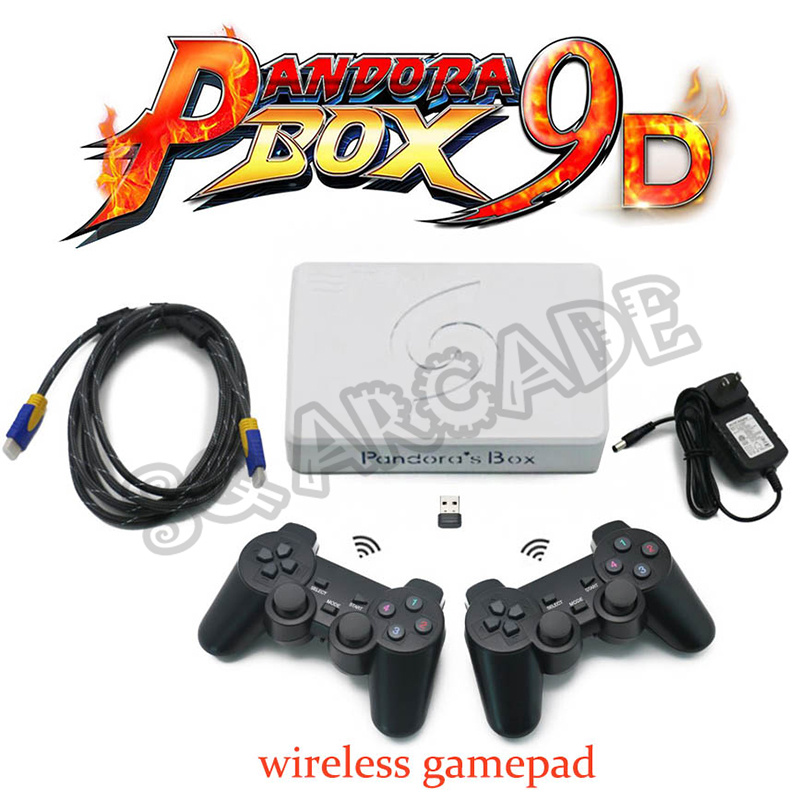 Pandora Box 9D 2500 In 1 Arcade Motherboard 2 Players Wired Gamepad And Wireless Gamepad Set Usb Connect Joypad Has 10 3D Games