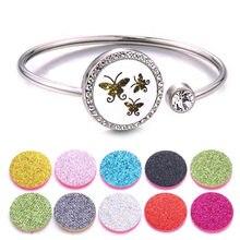 Medalhões de aromaterapia com borboleta, pulseira com difusor de aroma, óleo essencial e perfume em aço inoxidável, braceletes com cristal, joia