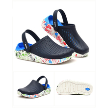 New Men Sandals Crocks LiteRide Hole Shoes Crok Rubber Clogs For Men EVA Unisex Garden Shoes Black C