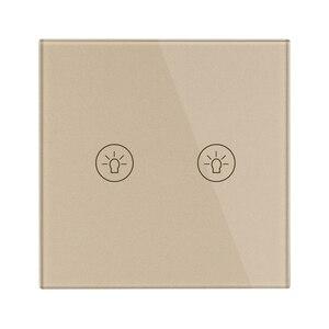 Image 3 - Interruptor de toque de parede ligh padrão ue, interruptores de sensor de energia branco preto, ouro, vidro de cristal 1 2 3 gang 1 way do makerele