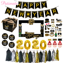 PATIMATE Christmas Black Gold Photo Booth Balloons Decorations For Home New Year Party Decoration Happy 2020