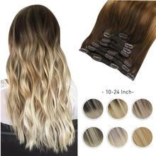 Hair-Extensions Human-Hair Seamless Clip-In Moresoo Straight Highlight-Machine Blonde