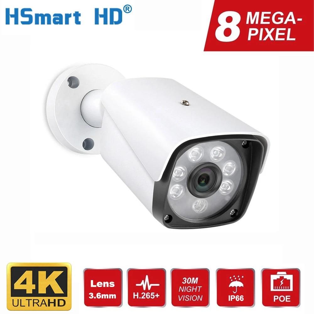 Ultra HD 8MP 4K POE IP Camera Waterproof IP66 Outdoor Indoor H.265 Onvif IR Video Surveillance Metal Bullet Camera for POE NVR