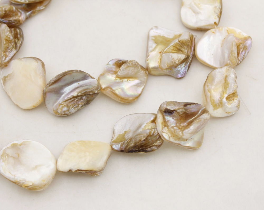 "Купить с кэшбэком Natural Beige White Baroque Mother of Pearl Shell 14mm-20mm Loose Beads 15"" Long"