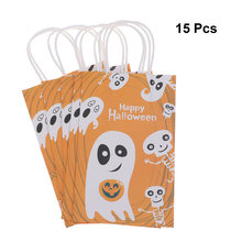 15Pcs Halloween Souvenir Bags Potable Brown Paper Packing Bags Nougat Present Bags 2019 New Design(China)