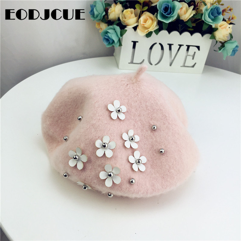Fashion Kids Wool Winter Warm Hat Flower Beret Hat For Girls Painter Cap French Cap Gorras