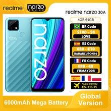 [Dostawa z Hiszpanii, Francji, Polski] realme Narzo 30A Smartphone Wersja globalna 4 GB 64 GB Helio G85 6,5 '' Pełny ekran 13 MP AI Podwójny aparat 6000 mAh 18 W Szybkie ładowanie