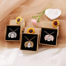 Dropshipping sol colar feminino multicolorido colar amor presente personalizado aberto medalhão girassol presente de aniversário pingente de jóias