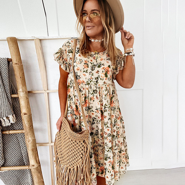 Casual Floral Print Summer Dress Boho Short Sleeve Woman Dress Female Loose Ruffles Mini Dresses For Women 2021 Robe Femme 1