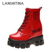Новые женские ботильоны; коллекция года; сезон осень; высокие кроссовки из лакированной кожи; ботинки на массивной платформе на высоком каблуке 10 см; зимние ботинки на толстой подошве
