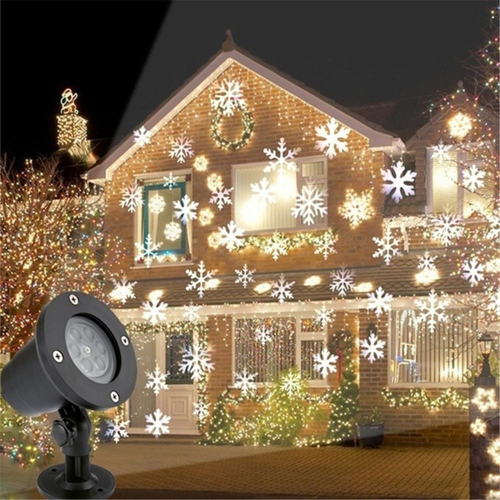 90-240V Christmas Snowflake Laser Light Snowfall Projector Moving Snow Outdoor Projector Lamp For New Year Party Decoration