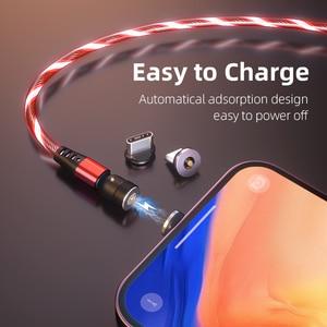3A течет Светильник СВЕТОДИОДНЫЙ Магнитный зарядный кабель USB C кабель QC3.0 провод для быстрой зарядки 540 поворот микро Тип C Магнитный кабель для зарядки телефона