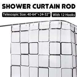 Rozszerzalny zakrzywiony karnisz prysznicowy 40-64 calowy karnisz narożny do wanny szyna torowa karnisze prysznicowe