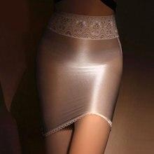 Shiny Skirt Pencil Tight Lace Micro See-Through MINI High-Waist Oil Sheer Smooth Shape