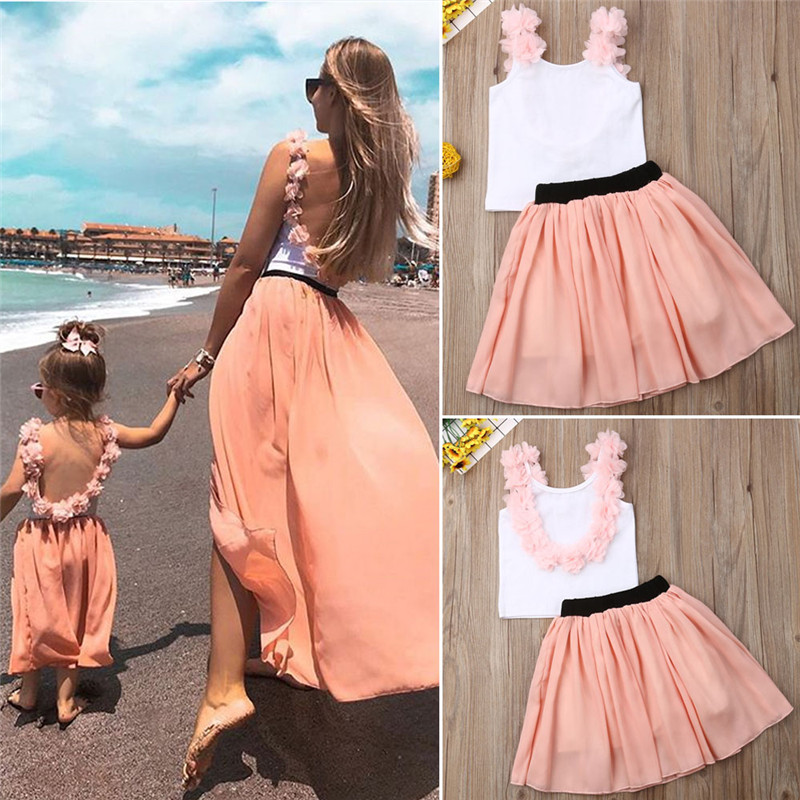 Mother Daughter T-shirt + Tutu Dresses Backless Clothes Matching Outfits Family Look  Baby Dress Mommy And Me Maxi Vestidos
