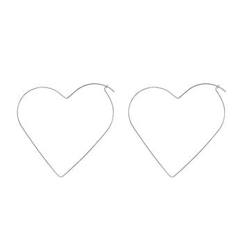 Fashion personality Hyperbole Hollow Simple Large Heart Pentagram Shaped Hoop Earrings Jewelry for Women street trendy decoratio 2