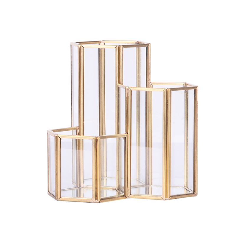 Glass Copper Hexagon Composite Pen Holder Makeup Brush Glass Box Multifunction Desktop Organizer Office Accessories
