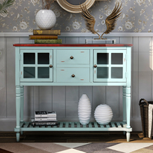 Sideboard Console Table with Bottom Shelf, Farmhouse Wood/Glass Buffet Storage Cabinet