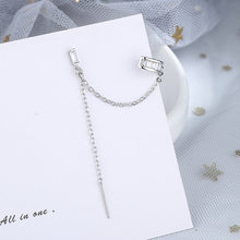 A Girl' New 1pcs Ear Cuff Clip Earrings Minimalist Long Chain Cubic Zircon Ear Jewelry For Women Korean Fashion Gifts