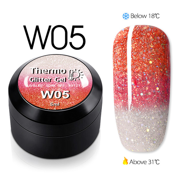 GDCOCO Temperature Change Glitter Color Gel Polish Cool Thermal Magic Effect Nail Varnish Gel Soak Off UV LED Gel Lacquer 1