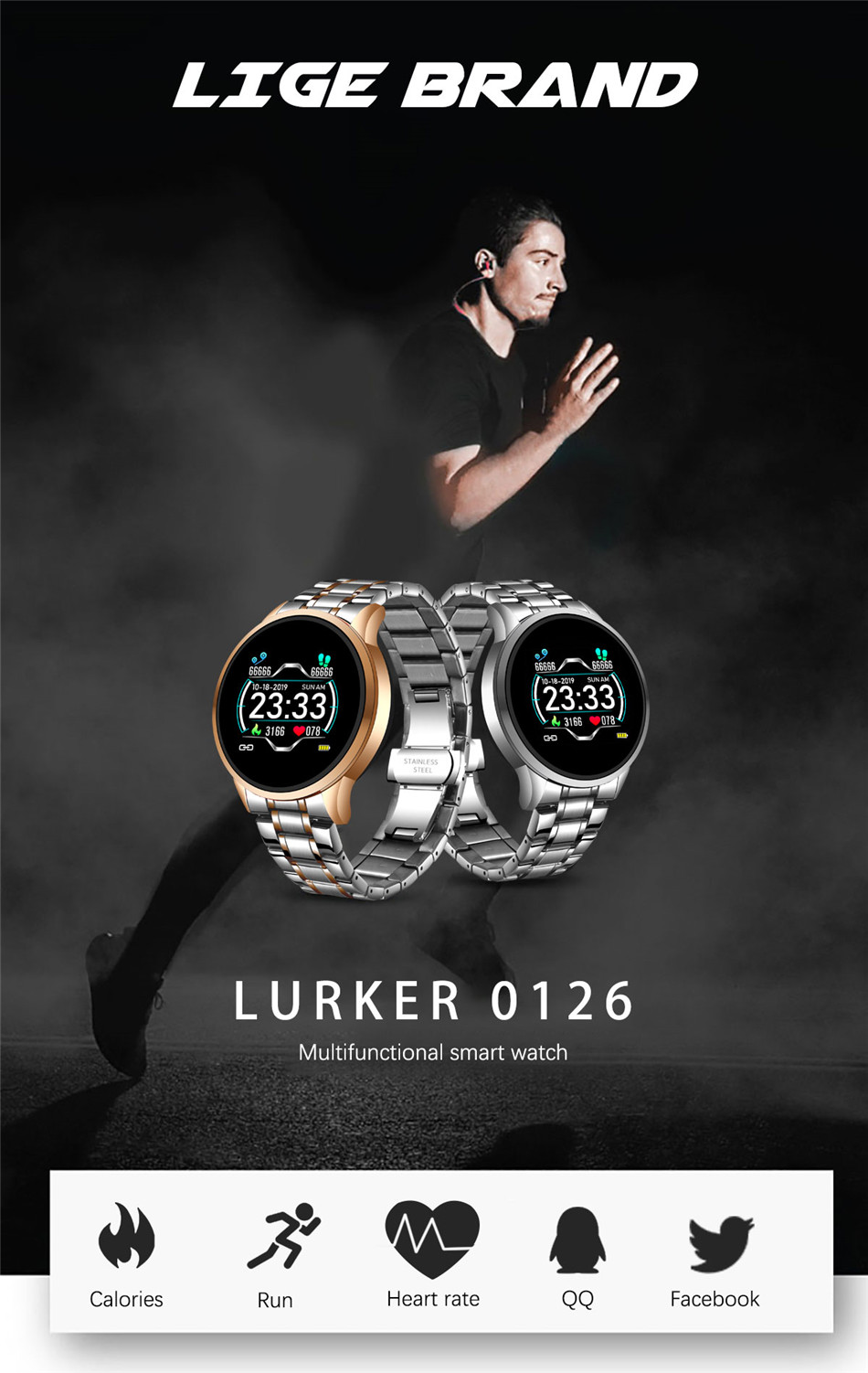 Hb0221b6f53b944219794fe343c339fddV LIGE 2020 New Smart Watch Men Heart Rate Blood Pressure Information Reminder Sport Waterproof Smart Watch for Android IOS Phone