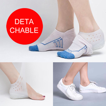 2-4cm calcetines invisibles de aumento de altura, almohadillas de talón para hombres y mujeres, plantillas de Gel de silicona para levantar, vestido en calcetines, herramienta para el cuidado de la piel del pie agrietado