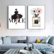 Fashion Black Dress Canvas  Nordic Wall Art Perfume with Flower Print Painting Decoration Picture Home Decor Framed