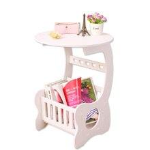 Nowoczesny stolik kawowy L/S/mały rozmiar do domu salon herbata biurko dwie warstwy zaokrąglona krawędź półka do przechowywania materiał WPC
