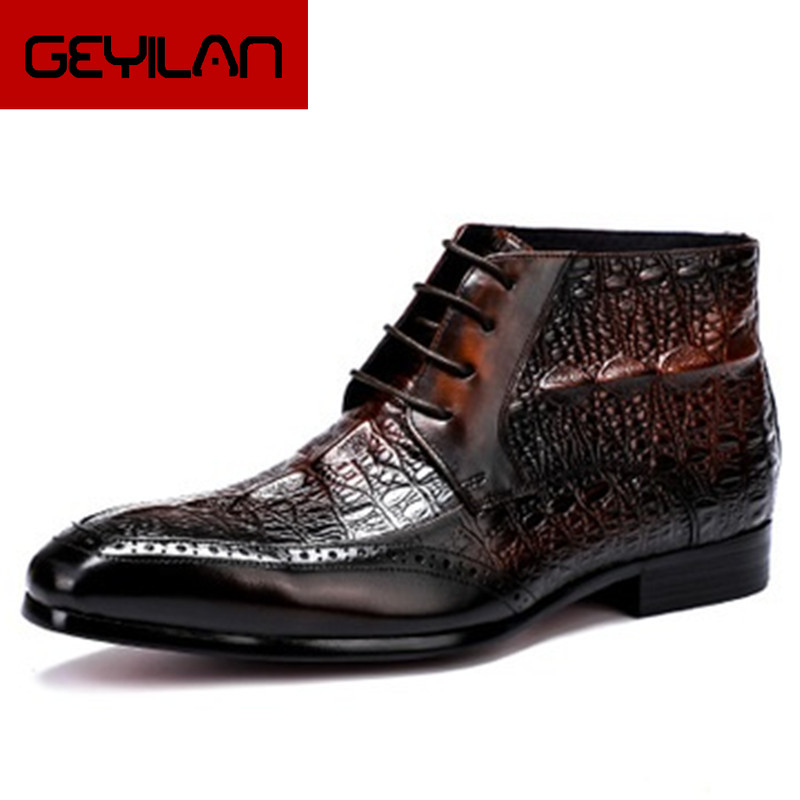 Size 37-46 Crocodile Pattern Handmade Fashion Office Mens Dress Boots Genuine Cow Leather Pointed Toe Men Casual Ankle Boots