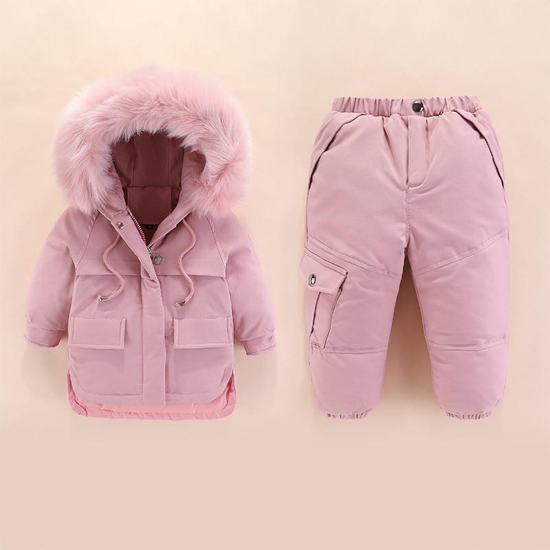 Kids Winter Down Jacket 2019 Children Down Clothing Sets 2Pcs Jacket + Pants 1-4 Years Baby Girls & Boys Winter Down Coats