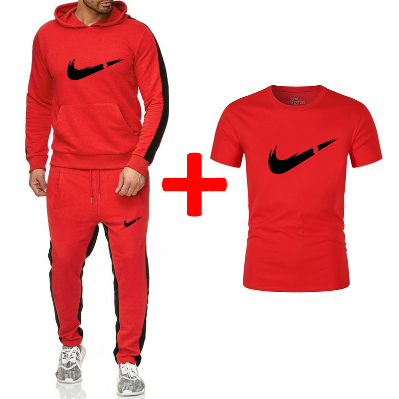 Classic Men's Sports And Leisure Hooded Sports Suit + Cotton Comfortable Short-sleeved T-shirt Fitness Sports Suit