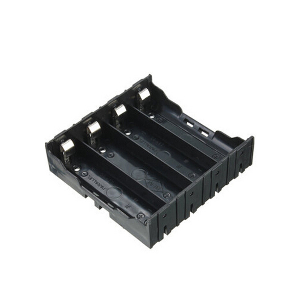 mosunx Black Plastic For 4 x 18650 Battery Storage Box Case Slot Way DIY Batteries Clip Holder Container With Wire Lead Pin 2.5