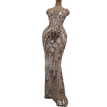 Fashion Summer Sequins Dress Women Mesh See Through Costume Prom Party Celebrate Long Train Sexy Evening Skinny