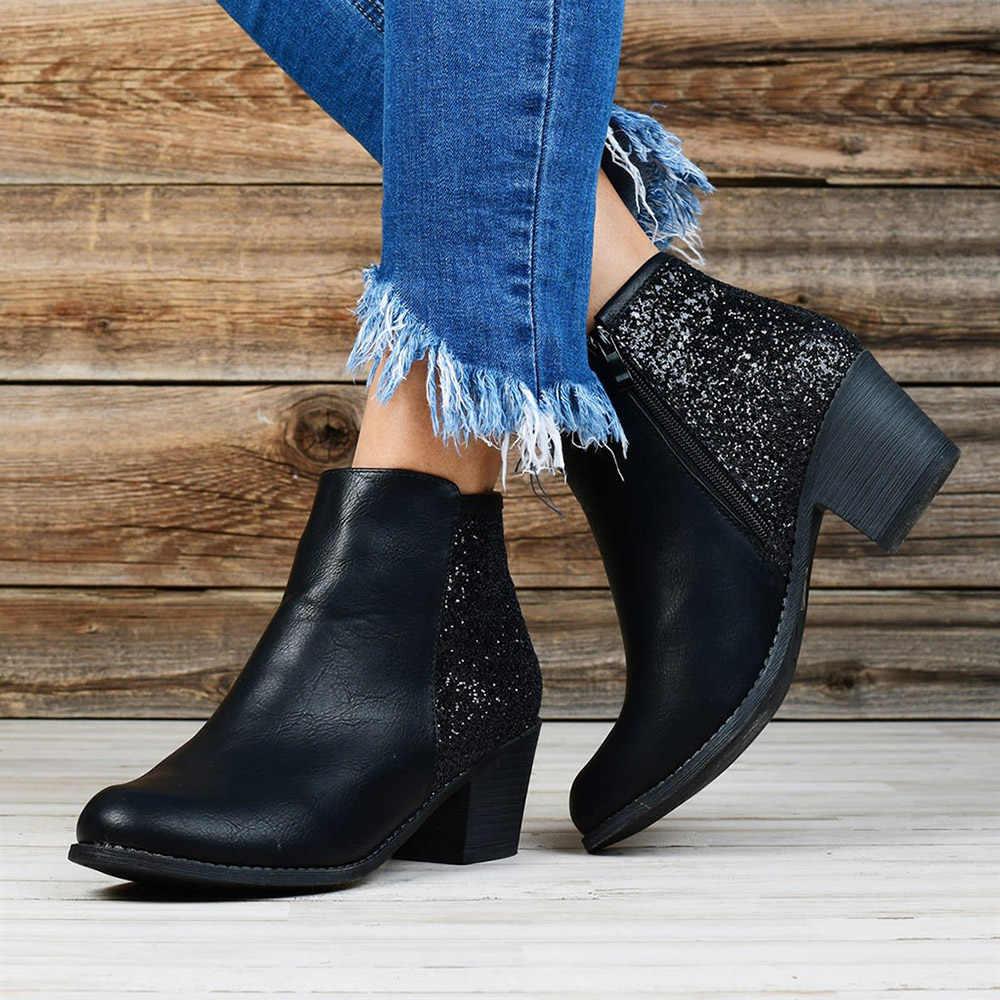 Yeni Retro kadın çizmeler tıknaz topuk yuvarlak ayak kadın Glitter çizmeler moda bayan rahat parti yarım çizmeler yan fermuar yüksek topuklu d25