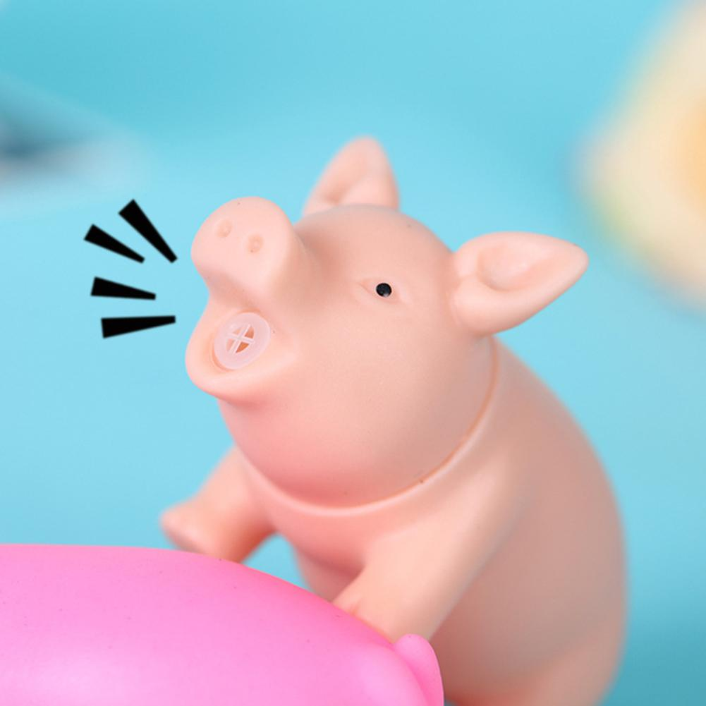 Kawaii Silicone Squeaky Piggy Figurines Miniatures Squeeze Anti Stress Prank Toy For Kids Home Decoration Accessories