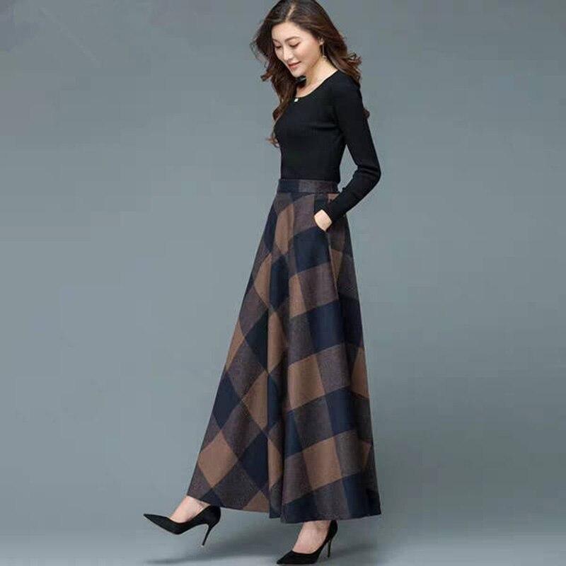 Women's Autumn Winter Retro Loose Printed High Waist Skirt Ladies Large Swing Pleated Causal Skirt on AliExpress