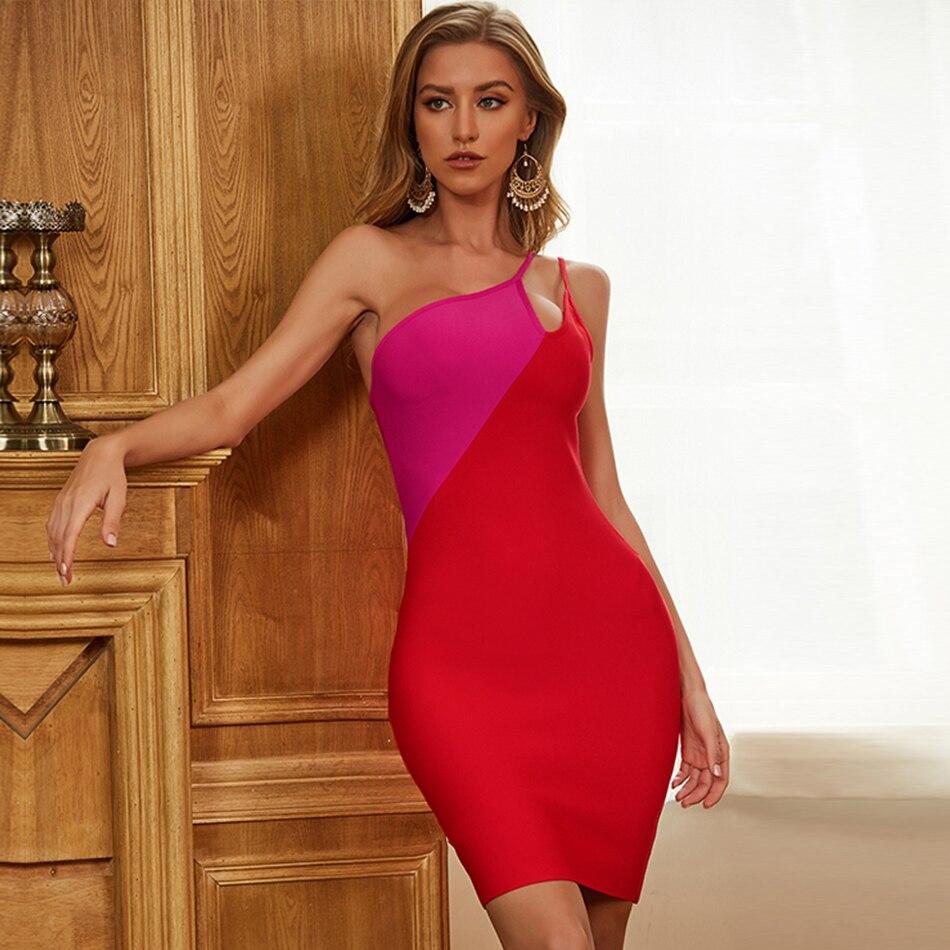One-Shoulder Red Strapless Bandage Dress