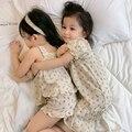 3 вида дизайна для детей с цветочным рисунком для девочек, пижамы для девочек. В винтажном стиле с изображением цветов для малышей футболка с...