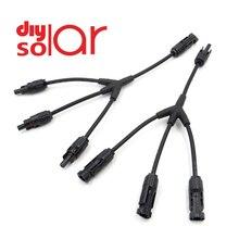 Conector solar y 3y 4y ramo conexão paralela 30a 1000 v fotovoltaica elétrica 2 3 4 pces cabo do painel solar fio conectar