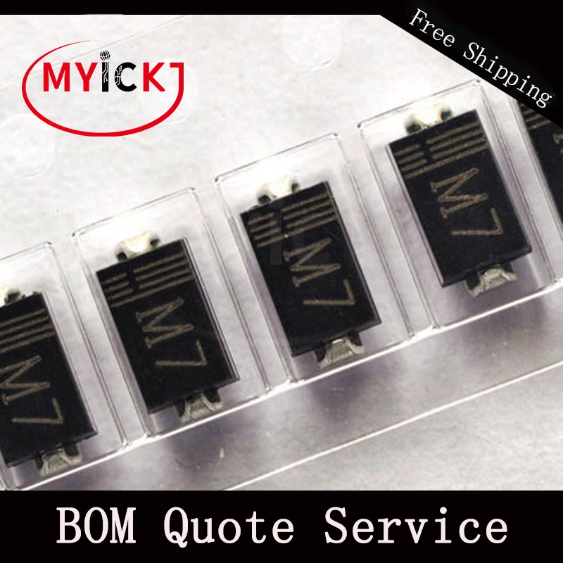 10PCS M7 4*2.5MM Rectifier diode 1A1000V SMA 1N4007 IN4007