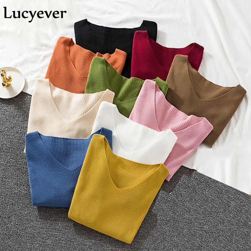 Lucyever Spring Sweater Women Pullover Elastic Knitted Jumper Long Sleeve V-neck Autumn Basic Female Top Knitwear Sueter Mujer