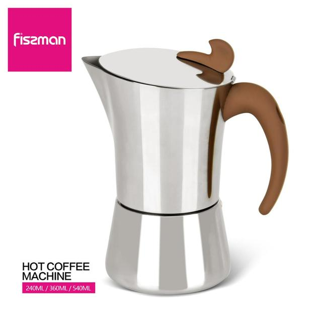 FISSMAN Stainless steel Stove Espresso Maker Latte Mocha Coffee Pot Tool for Home Office Gas and Induction Coffee Maker