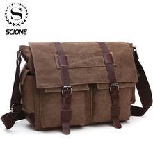 Scione Mannen Business Messenger Bags Voor Mannen Schoudertas Canvas Crossbody Pack Retro Casual Kantoor Reistas