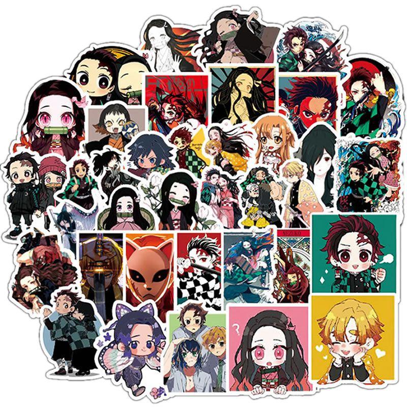 10/30/50pcs Pack Anime Demon Slayer Kimetsu No Yaiba Stickers Waterproof PVC Laptop  Guitar Luggage Skateboard Kids Toy Sticker