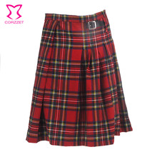 Gothic Punk Kilt Scottish Tartan Red Plaid Pleated Waist Skirt With Faux Leather Buckle Man Kleid Mittelalter Scotland Trousers